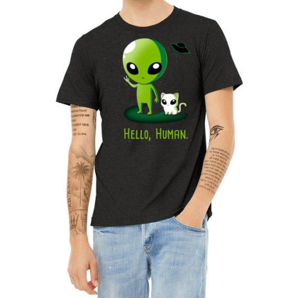 Alien With Very Funny Cat Heather T-shirt Designed By Chris299