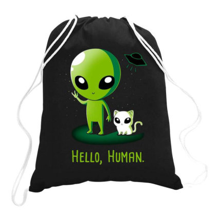 Alien With Very Funny Cat Drawstring Bags Designed By Chris299