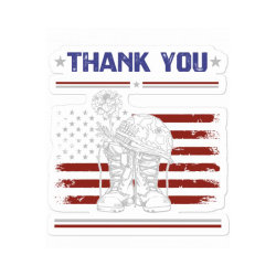 Distressed Memorial Day Gift Flag Military Boots Dog Tags Sticker Designed By Diogo Calheiros
