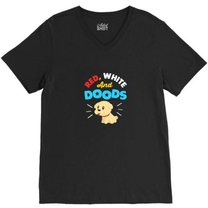 Doodle Dog Gifts For 4th July Independence Day Pet Premium T Shirt V-neck Tee Designed By Blackstone