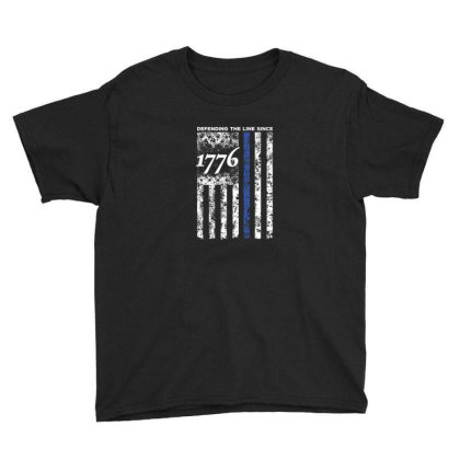 Thin Blue Line 1776 Independence Day Shirt Youth Tee Designed By Blackstone