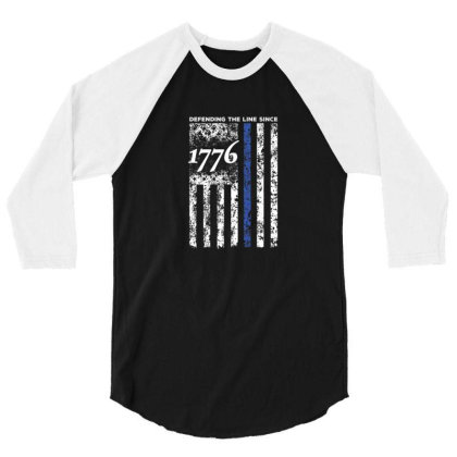 Thin Blue Line 1776 Independence Day Shirt 3/4 Sleeve Shirt Designed By Blackstone