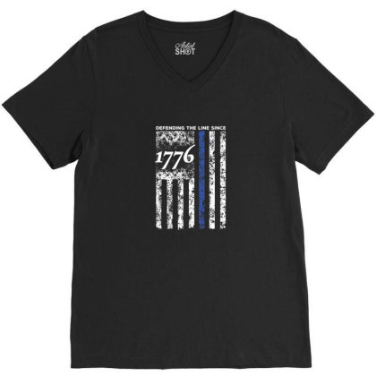 Thin Blue Line 1776 Independence Day Shirt V-neck Tee Designed By Blackstone