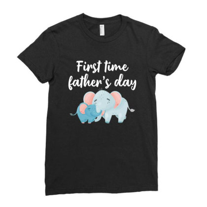 First Time Father's Day For Dark Ladies Fitted T-shirt Designed By Sengul