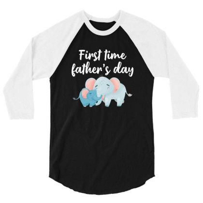 First Time Father's Day For Dark 3/4 Sleeve Shirt Designed By Sengul
