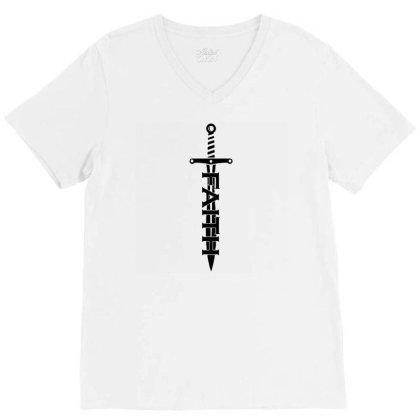 Faith Sword V-neck Tee Designed By Lyly