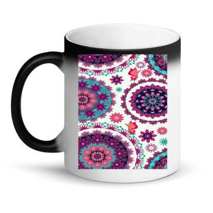 Circular Floral Print Magic Mug Designed By @sanjana11