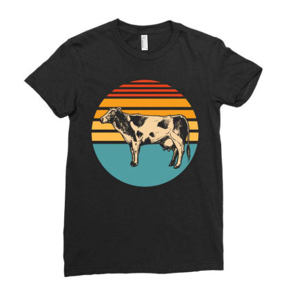 Farm Animal Pet Cute Cow Ladies Fitted T-shirt Designed By Ismi