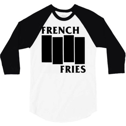 French Fries  Black 3/4 Sleeve Shirt Designed By Ismi