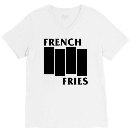 French Fries  Black V-neck Tee Designed By Ismi