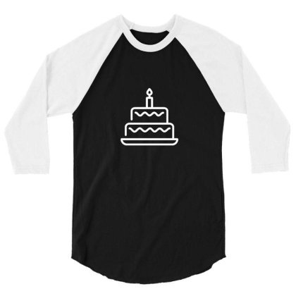 Birthday Cake 3/4 Sleeve Shirt Designed By Dc47