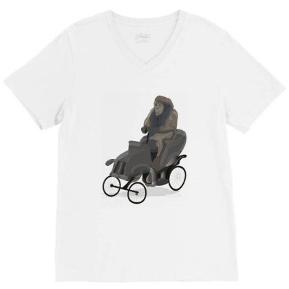 Chimpanzee V-neck Tee Designed By Rococodesigns