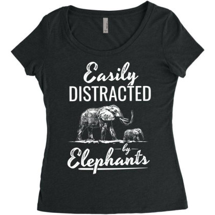 Easily Distracted By Elephants Women's Triblend Scoop T-shirt Designed By Hoainv