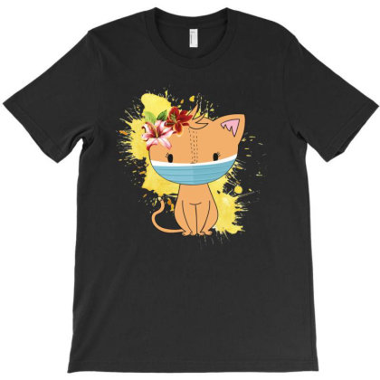 Cat Mask T-shirt Designed By Sengul