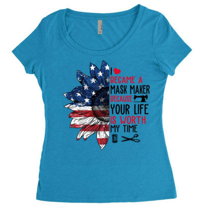 I Became A Mask Maker Because Your Life Is Worth My Time Women's Triblend Scoop T-shirt Designed By Hoainv