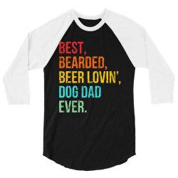 funny bearded dad bearded beer lovin dog dad ever retro vintage 3/4 Sleeve Shirt | Artistshot