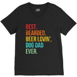 funny bearded dad bearded beer lovin dog dad ever retro vintage V-Neck Tee | Artistshot