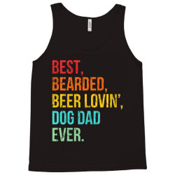 funny bearded dad bearded beer lovin dog dad ever retro vintage Tank Top | Artistshot