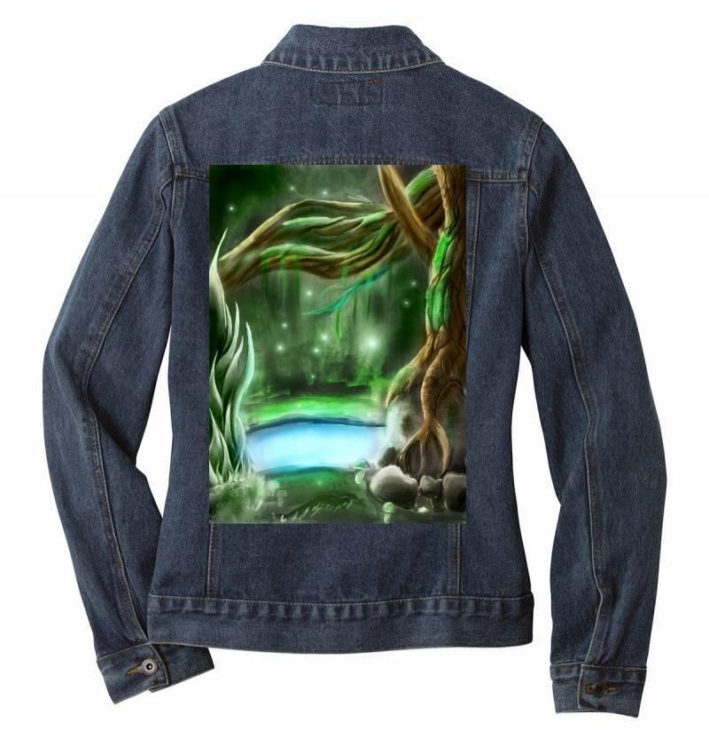 Enchanted Forest Ladies Denim Jacket   Artistshot