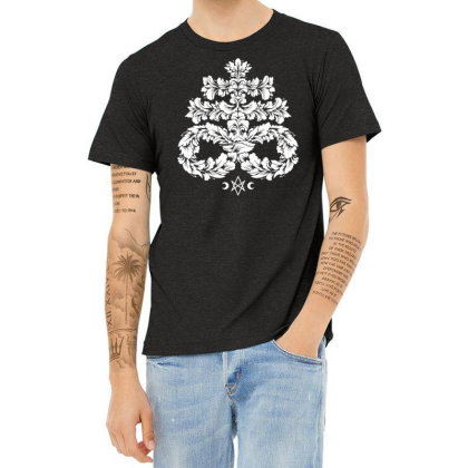 Leviathan Cross White   Goth Occult Heather T-shirt Designed By Fanshirt