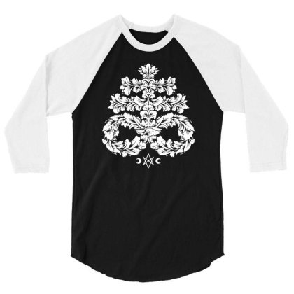 Leviathan Cross White   Goth Occult 3/4 Sleeve Shirt Designed By Fanshirt
