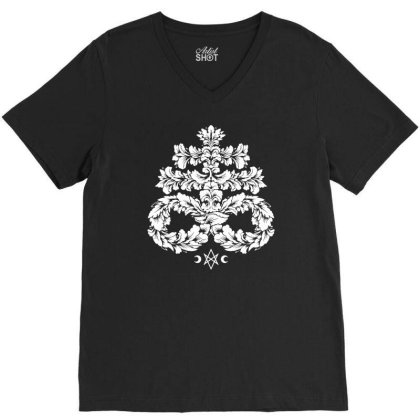Leviathan Cross White   Goth Occult V-neck Tee Designed By Fanshirt
