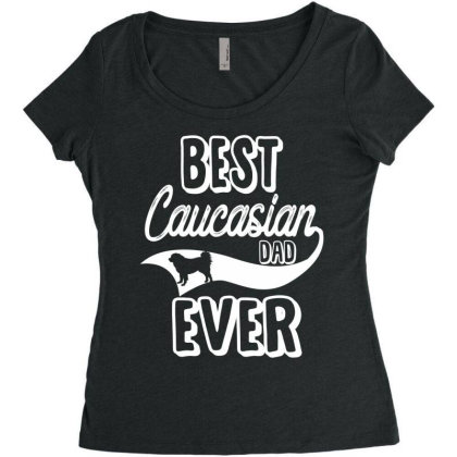 Best Caucasian Dad Ever Women's Triblend Scoop T-shirt Designed By Hoainv