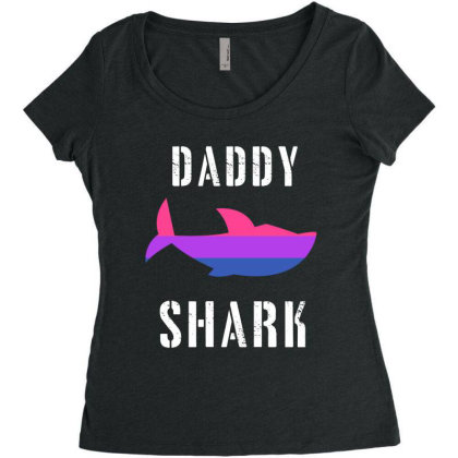 Daddy Shark Bisexual Women's Triblend Scoop T-shirt Designed By Hoainv