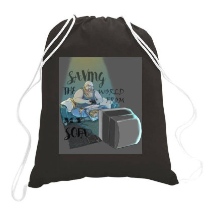 Saving The World Drawstring Bags Designed By Dtovarts