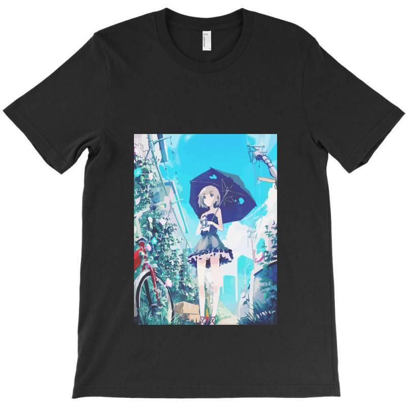 Anime Girl Under The Sky (low Poly) Fanart T-shirt | Artistshot