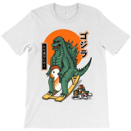 Godzilla Stay Play T-shirt Designed By Sober Artwerk