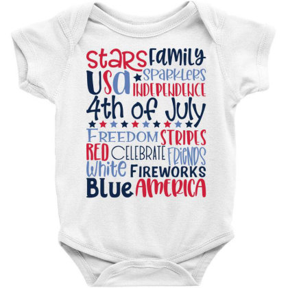 4th Of July Subway Art Baby Bodysuit Designed By Tiococacola