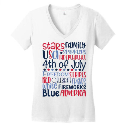 4th Of July Subway Art Women's V-neck T-shirt Designed By Tiococacola