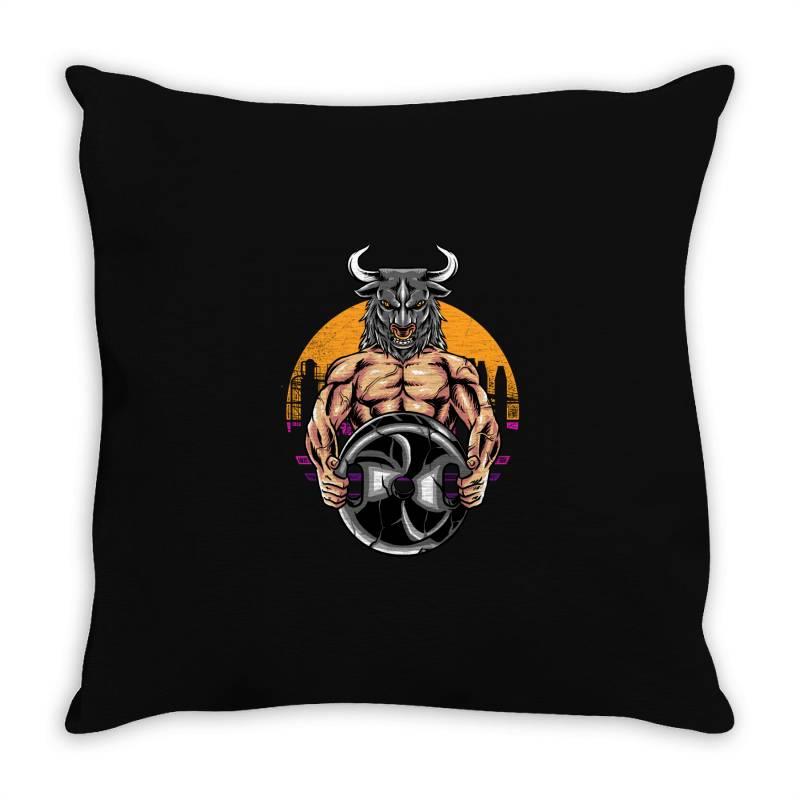Bull Gym Throw Pillow | Artistshot
