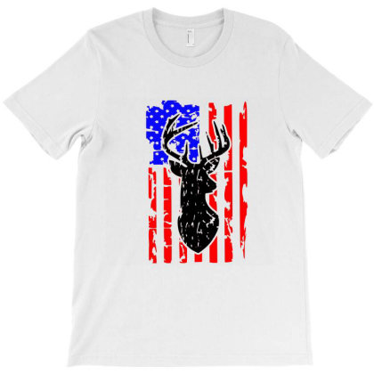 Distressed Hunting Buck Flag T-shirt Designed By Tiococacola