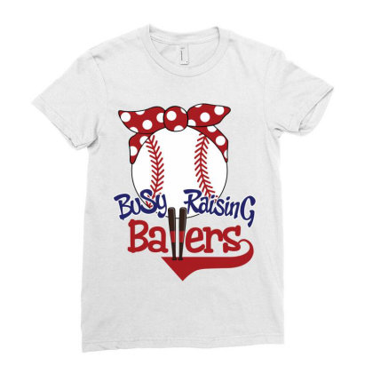 Busy Raising Ballers Ladies Fitted T-shirt Designed By Tiococacola