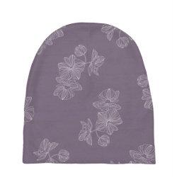 Purple Floral Baby Beanies   Artistshot