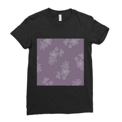 Purple Floral Ladies Fitted T-shirt Designed By The Silk Craft