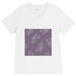Purple Floral V-Neck Tee | Artistshot