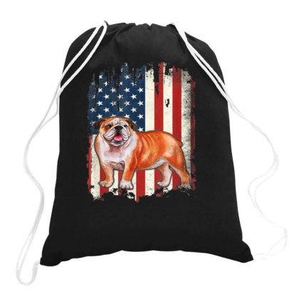 Bulldog American Flag Drawstring Bags Designed By Kakashop