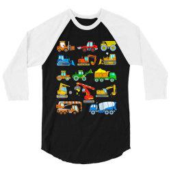 construction excavator shirt for boys girls men and women 3/4 Sleeve Shirt | Artistshot