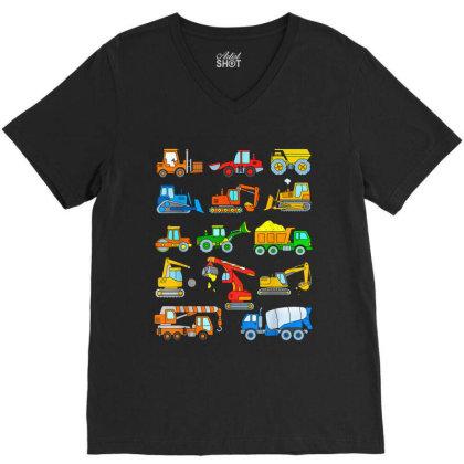 Construction Excavator Shirt For Boys Girls Men And Women V-neck Tee Designed By Conco335@gmail.com