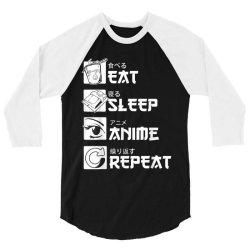eat sleep anime repeat shirt, funny japanese manga gift 3/4 Sleeve Shirt   Artistshot
