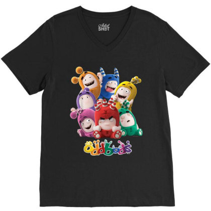 Oddbods All 7 Characters In Cute Funny Poses V-neck Tee Designed By Conco335@gmail.com