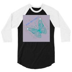 Blue butterfly 3/4 Sleeve Shirt   Artistshot