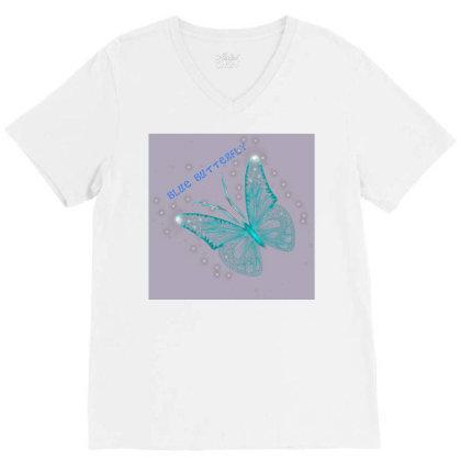 Blue Butterfly V-neck Tee Designed By Saraswatibk864@gmail.com
