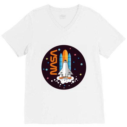 Usa Space Agency Vintage Colors V03 V-neck Tee Designed By Redline77