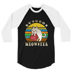 Dungeon Meowster Retro Vintage Funny Cat 3/4 Sleeve Shirt | Artistshot