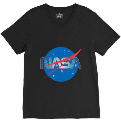 Nasa Space Universe Logo V-neck Tee Designed By Redline77