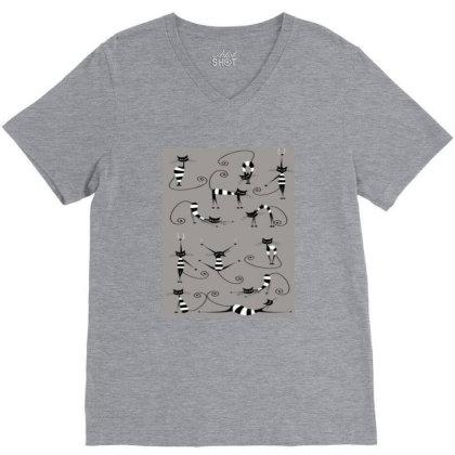 Lazycats V-neck Tee Designed By @sanjana11